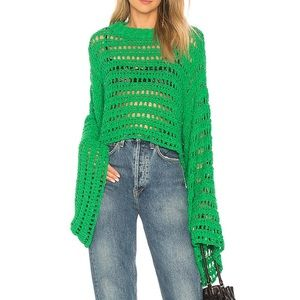 Free people CAUGHT UP CROCHET TOP IN KELLY GREEN